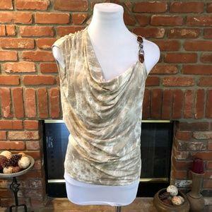 Michael Kors S Tie Dye Chain Ruched Draping Shirt